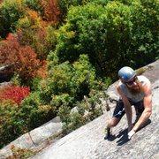 Rock Climbing Photo: Brandon Morey leading up pitch 2