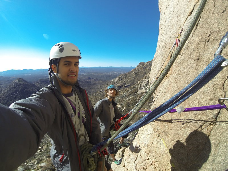 selfie on hanging belay