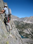 Soloing first 3 pitches of Temple Crag, Sierras