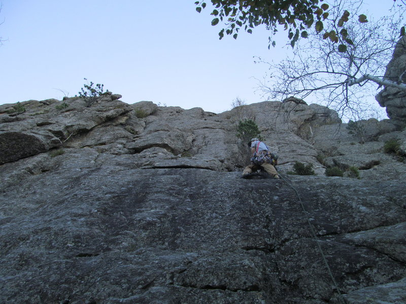 Rock Climbing Photo: John starting the first pitch which goes left a bi...