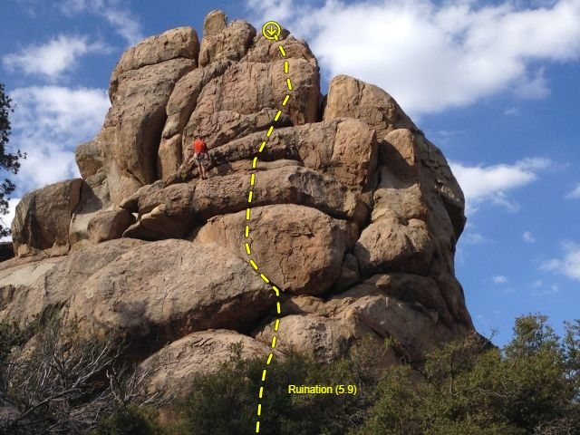 Rock Climbing Photo: Ruination (5.9), Holcomb Valley Pinnacles
