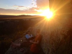 Rock Climbing Photo: Sunset at Eagle Rocks.