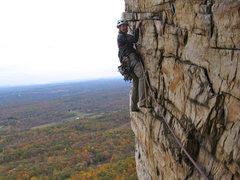 Rock Climbing Photo: The third pitch traverse of Bonnie's Roof, Gunks