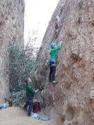 "Rock Climbing Photo: The opening moves of ""Betty Does Brownsville...."