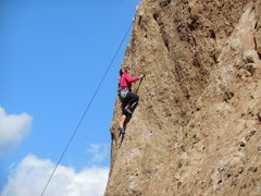 Rock Climbing Photo: A climber flawlessly executing the moves on the up...