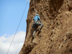 Rock Climbing Photo: Working the steep moves.