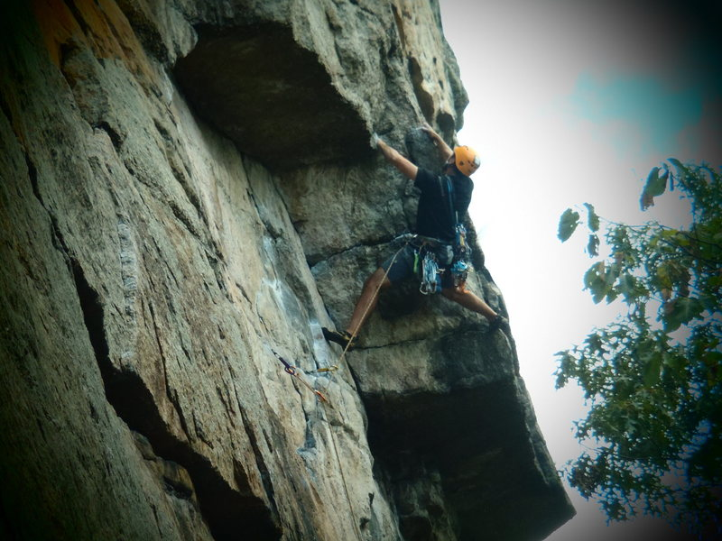 Rock Climbing Photo: working the crux