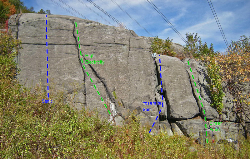 routes on High Electricity wall