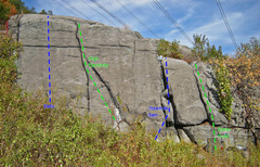 Rock Climbing Photo: routes on High Electricity wall