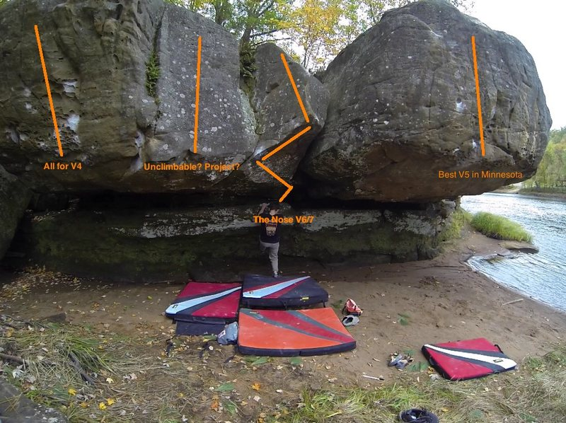 Rock Climbing Photo: Picture detailing the river boulder's problems