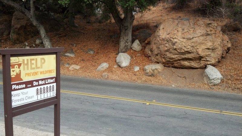 Roadside Boulder is right across from the smokey sign next to a turnout.