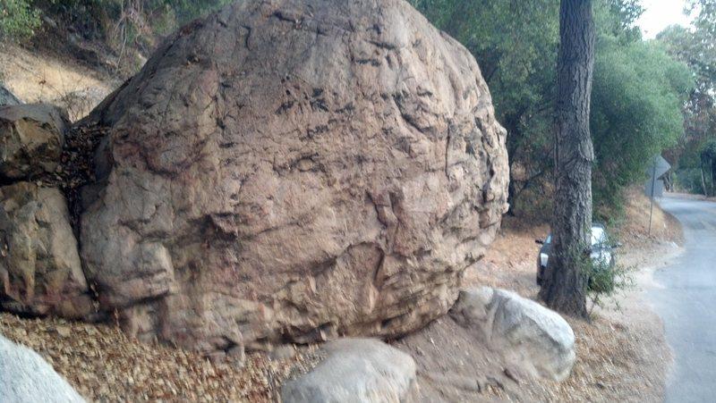 Roadside boulder left side