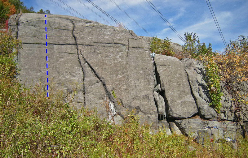 Rock Climbing Photo: Static route drawn with blue line on High Electric...
