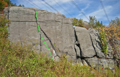Rock Climbing Photo: High Electricity route drawn in green