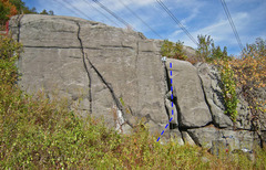 Rock Climbing Photo: Yosemite Sam route drawn in blue (on High Electric...