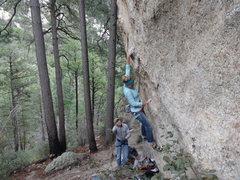 Rock Climbing Photo: Josie on first throw, Cres on belay.