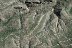 Rock Climbing Photo: Look for the path going out the obvious ridge, str...