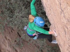 Rock Climbing Photo: Pam moving up the initial steep section of Betty o...