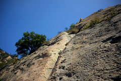 Rock Climbing Photo: Patrick Callery leads the stunning, upper headwall...