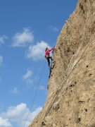 Rock Climbing Photo: Pulling the rope on Hook em' Horns