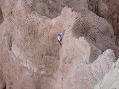 Rock Climbing Photo: Chip Wilson cleaning P2