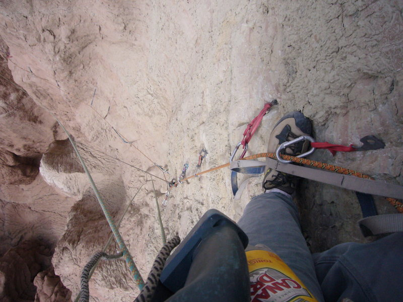 Rock Climbing Photo: Looking down pitch 3