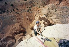 Rock Climbing Photo: Chip Wilson reaching the P3 belay