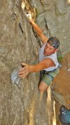 Rock Climbing Photo: Eric Relien on a lead of Swiss Cheese