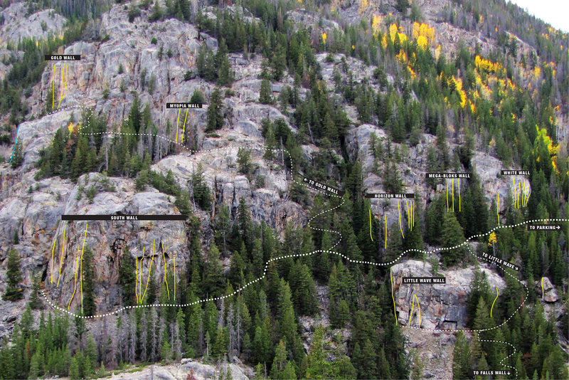 Rock Climbing Photo: The major areas and trails at Poudre Falls.