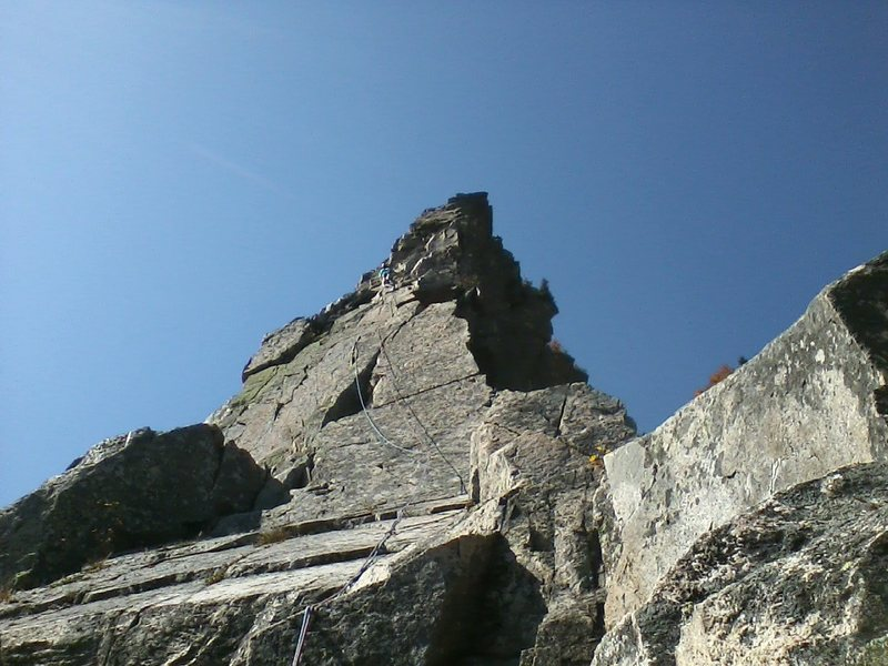 View of the top from the beginning of the last pitch.