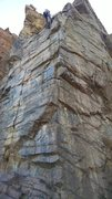 Rock Climbing Photo: Bolt line up the arete.