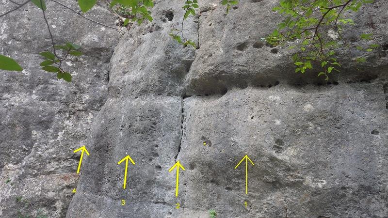 Rock Climbing Photo: Big sloppy (1), right finger crack (2), Aunt Jamim...