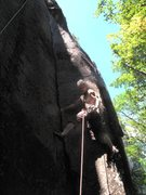 Rock Climbing Photo: Mark on the FA. This corner is classic at the grad...