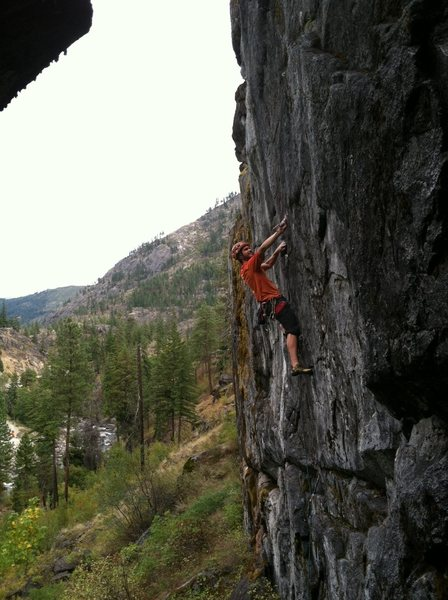 Me below the crux of Go Fetch 5.11