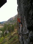 Rock Climbing Photo: Me below the crux of Go Fetch 5.11