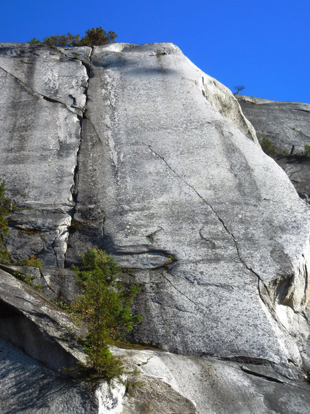 Quagmire is the middle crack. A sustained 40m of 10c crack climbing!
