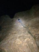 Rock Climbing Photo: Brian leading Flakes at midnight.