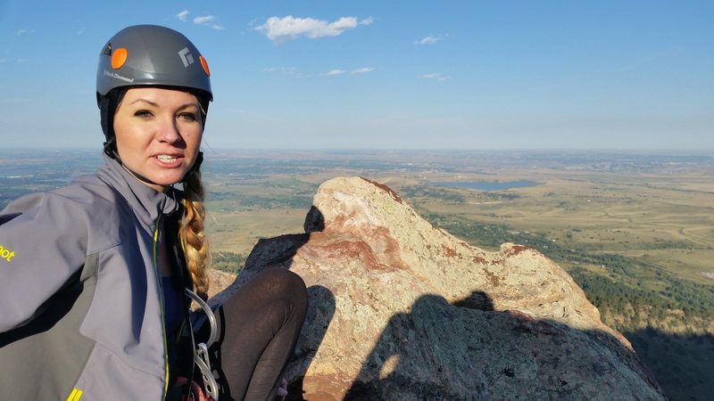 Rock Climbing Photo: At the summit of The Matron, Flatirons, Colorado