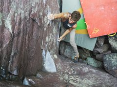Rock Climbing Photo: Baker sticking the first move on the way to the se...