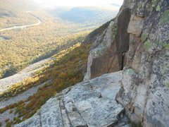 Rock Climbing Photo: Got off route, left of the two vertical cracks/bel...