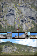 Rock Climbing Photo: Key areas of the CrazyDog's Halo route.