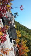 Rock Climbing Photo: Climber getting ready to step out onto The Arete o...