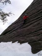 Rock Climbing Photo: Bit of snow on the first pitch of the Nose.