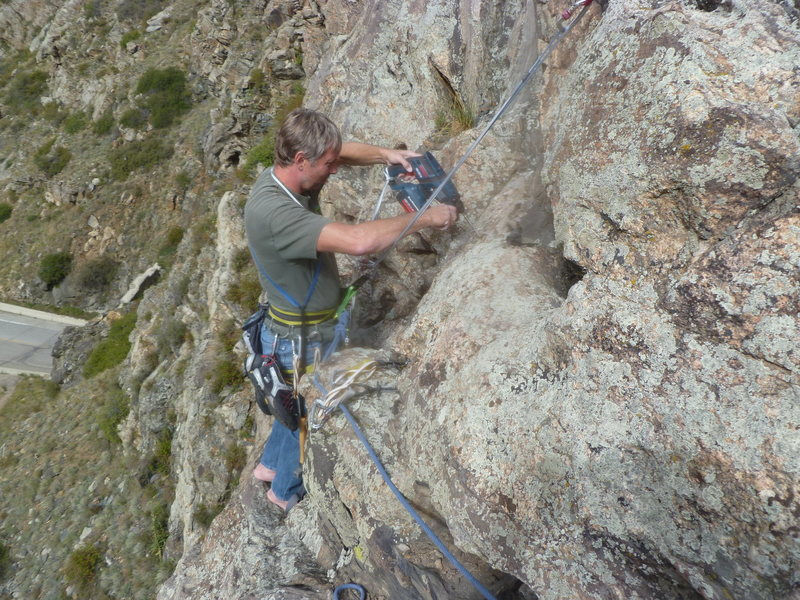 Rock Climbing Photo: Mark bolting the Purrrfect Puppy