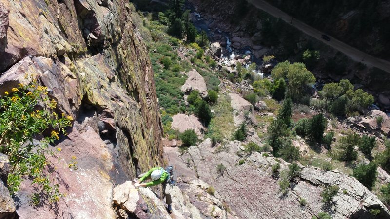 Eldorado in the Fall- Climbers behind us on the first pitch Ruper with Mike W. 9-28-2014.