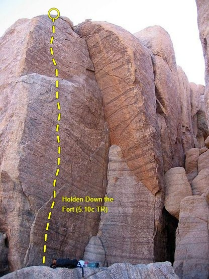 Rock Climbing Photo: Holden Down the Fort (5.10c TR), Joshua Tree NP. P...