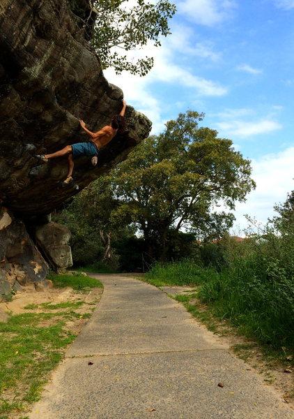 Rock Climbing Photo: Throwin the last move