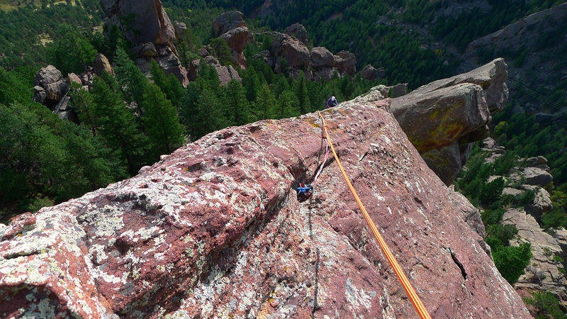 Rock Climbing Photo: Airy 2nd pitch of Quadratic Equation.