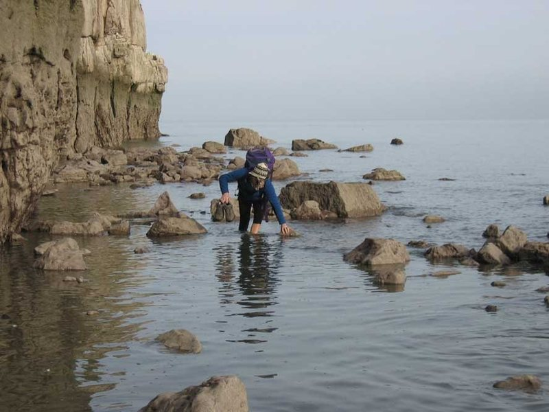 Rock Climbing Photo: This never happens in Colorado...  Wading to escap...