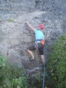 Rock Climbing Photo: Climber starting up Aqua Vitae